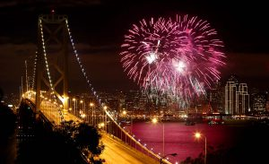 Fireworks light up San Francisco Bay. (San Francisco Chronicle)